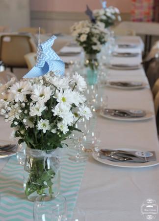 décoration table chevrons fleurs moulin à vent hibou owl baptême
