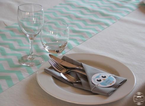 décoration table chevrons hibou owl baptême