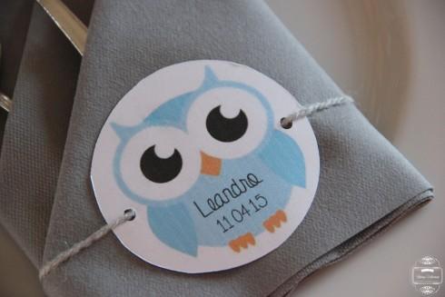 macaron serviette baptême hibou owl