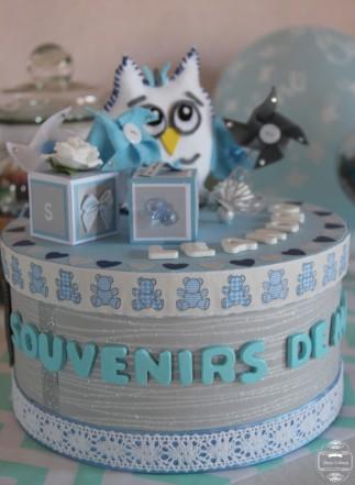 boite à souvenir baptême hibou owl